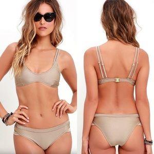 3fb964aed88 Somedays Lovin | gilt metallic strappy bikini top NWT